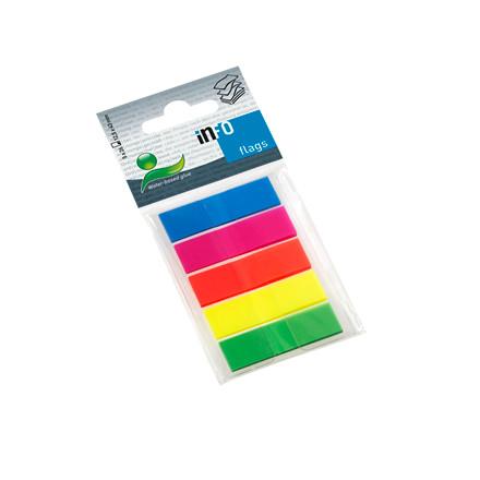 Indexfaner - Info Flags i 5 farver 12,5 x 43 mm - 5 x 26 stk