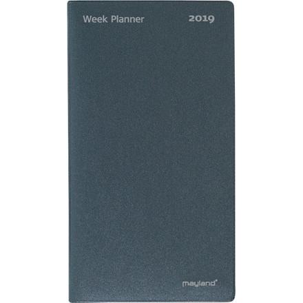 Index Planner 2019 foldet månedskalender vinyl Mayland mørk grå 9 x 16,6 cm - 19 0810 00