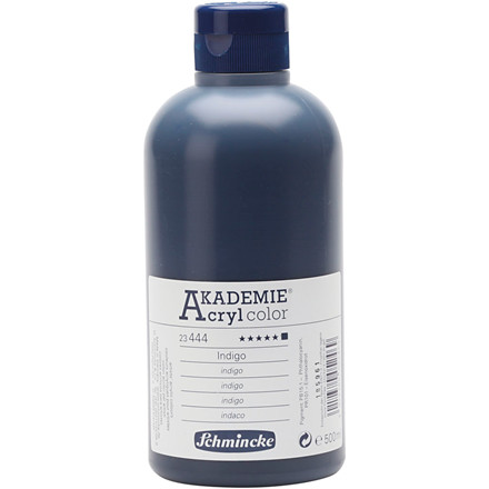 Indigo (444) Schmincke AKADEMIE® Acryl color, opaque , extremely light fast , 500ml