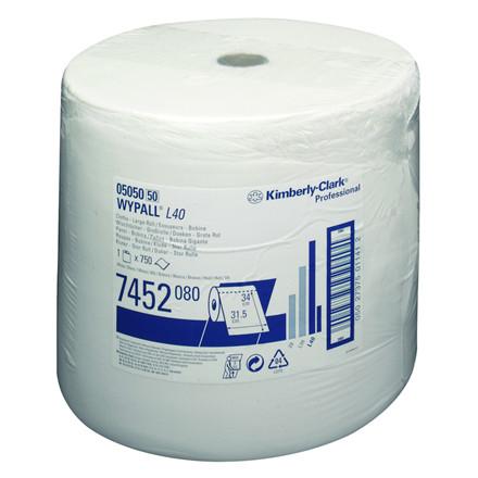 Industri aftørring, 1-lags, 24x38cm, L259 m, hvid,
