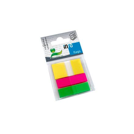 Info Flags - Indexfaner i 3 farver 12,5 x 43 mm og 25 x 43 mm - 3 x 26 stk