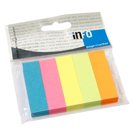 Info index faner i 5 farver -  15 x 50 mm - 5 x 100 stk