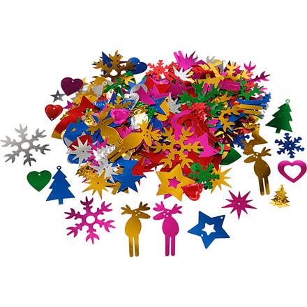 Julepailletmix størrelse 8-50 mm stærke farver - 35 gram