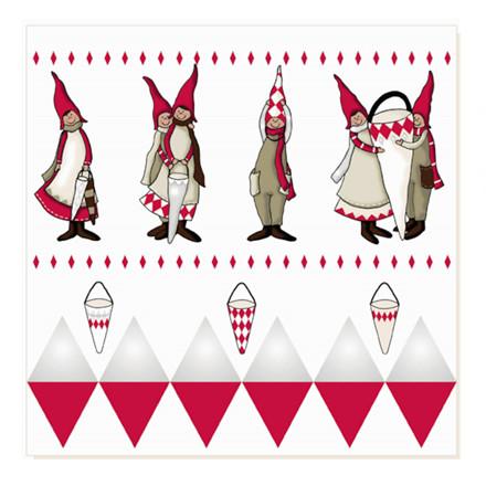 Juleserviet, 3-lags, 1/4 fold, rød/hvid, 33cm x33cm