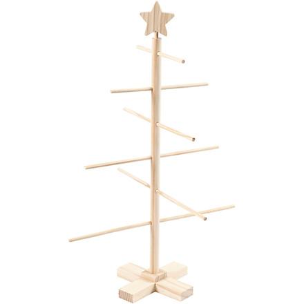 Filigran juletræ i træ - 60 cm høj
