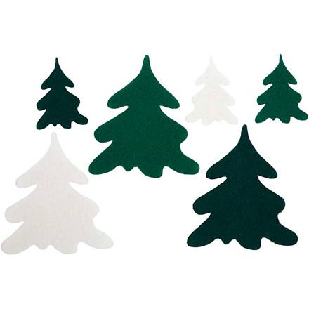 Juletræer, H: 4+7 cm, tykkelse 1,5 mm, 24ass.