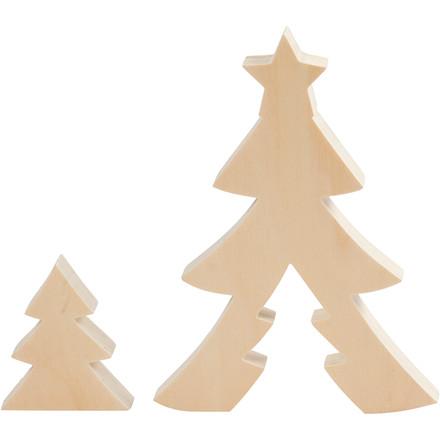 Juletræer, H: 8+20 cm, B: 6,5+14,5 cm, krydsfiner, 1sæt, dybde 2 cm