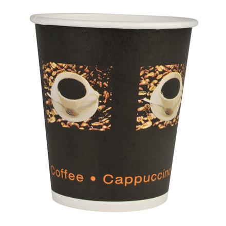 Kaffebæger, Gastro-Line, sort, 1-sidet PE-coated, pap med PE-belægning, 24 cl, 8 oz, 2