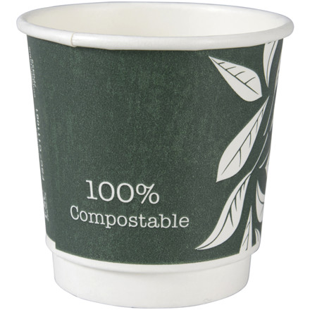 Kaffebæger, Abena Gastro-Line, Green Leaves, 6cm, Ø6,2cm, 10 cl, 12 cl, grøn, PLA/pap, 4 oz