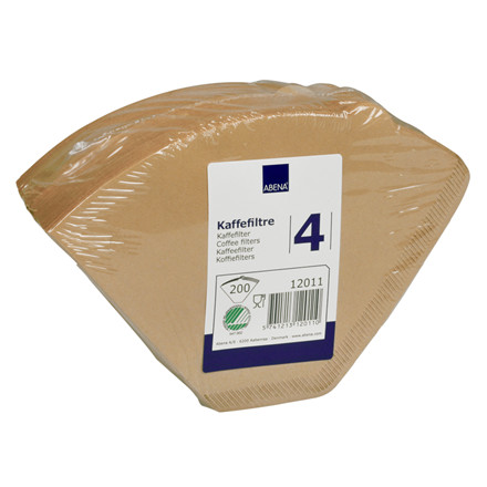 Kaffefilter, Abena, ubleget, 1X4, 200 stk