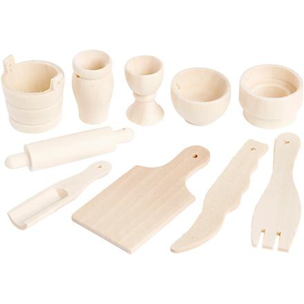 Køkkenredskaber længde 40-60 mm birk    10 stk.