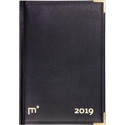 Kaldenderårbog 2019 Mayland sort kunstskind 12 x 17 cm 1 dag/side - 19 1900 00