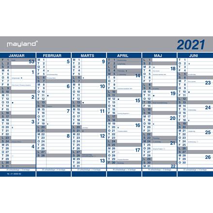 Kartonkalender halvårs 44x29cm 21 0630 00 (2021)