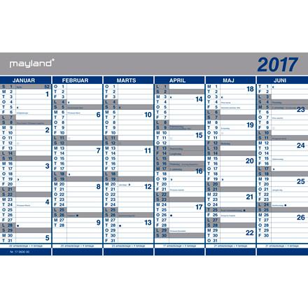 Kartonkalender halvårskalender 44x29cm 0630 00 (2017)