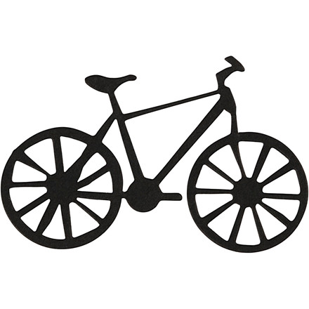Kartonmærkat, str. 77x48 mm, sort, cykel, 10stk.