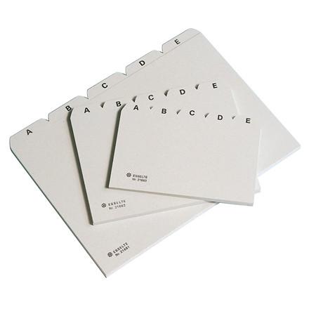 Kartoteksfaner A-Å A6 Esselte - 5-delte grå plastfaner