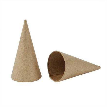 Kegle papmaché Højde 8 cm diameter 4 cm - 10 stk