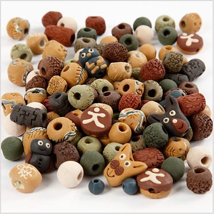 Keramikperler, str. 7-18 mm, hulstr. 2-4 mm, ass. farver, 300g