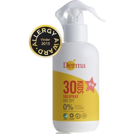 Kids solspray SPF 30, Derma Helse, uden farve og parfume, 250 ml