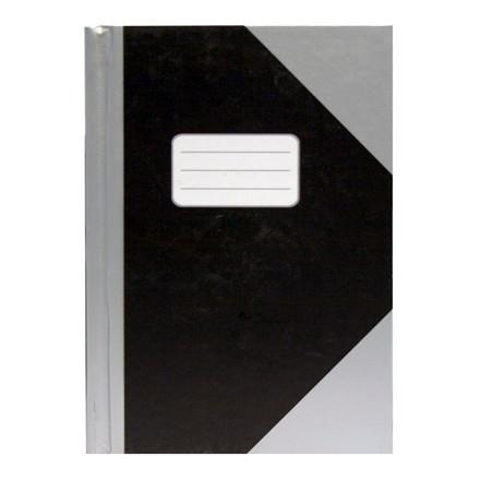 Kinabog - A5 linieret, sort med sølvgrå hjørner