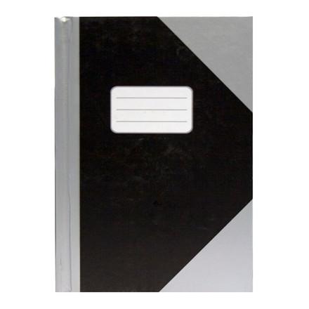 Kinabog - A6 linieret, sort med sølvgrå hjørner