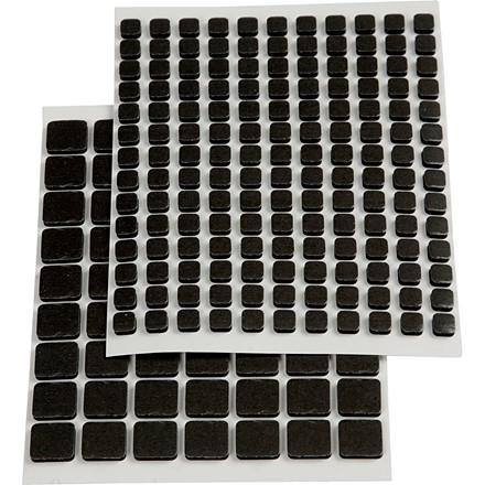 Klæbepuder sort i 2 størrelser - I alt 217 stk.