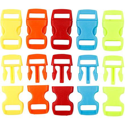 Kliklås, B: 15 mm, L: 29 mm, ass. farver, 100ass.