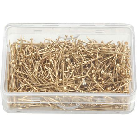 Knappenåle længde 16 mm tykkelse 0,65 mm guld   25 gram