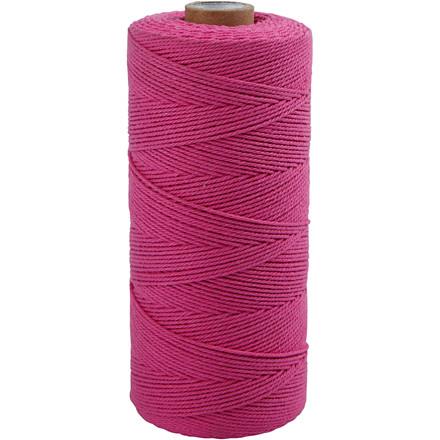Knyttegarn, L: 320 m, tykkelse 1 mm, pink, Tynd kvalitet 12/12, 250g