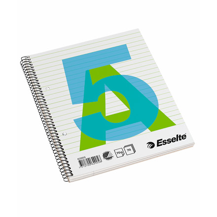 Kollegieblok Esselte A5 linieret med spiralryg - 70 sider