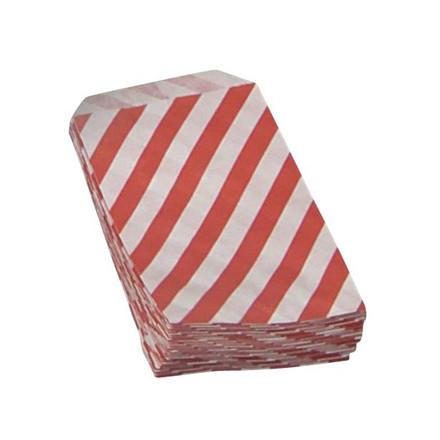 Konfektpose med rød diagonal strib hvid 100 x 155 mm 40 gram - 1000 stk