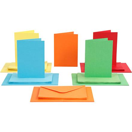 Farvede kuverter og kort str. 10,5 x 15 cm - 50 sæt