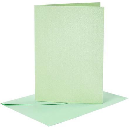 Kort og kuverter kort 10,5 x 15 cm kuvert 11,5 x 16,5 cm lys grøn perlemor - 4 sæt