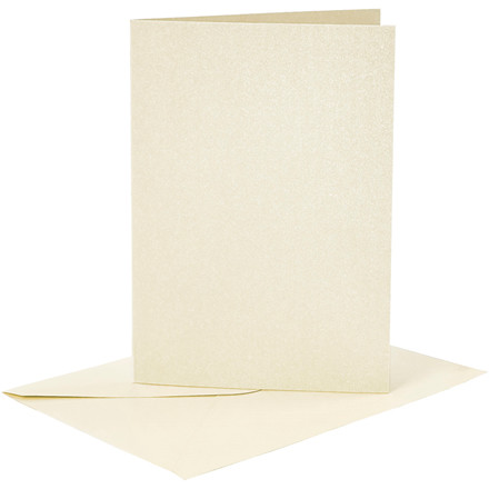 Kort og kuverter, kort str. 10,5x15 cm, kuvert str. 11,5x16,5 cm, råhvid, perlemor, 4sæt