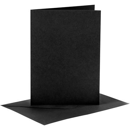Kort og kuverter, kort str. 10,5x15 cm, kuvert str. 11,5x16,5 cm, sort, 6sæt