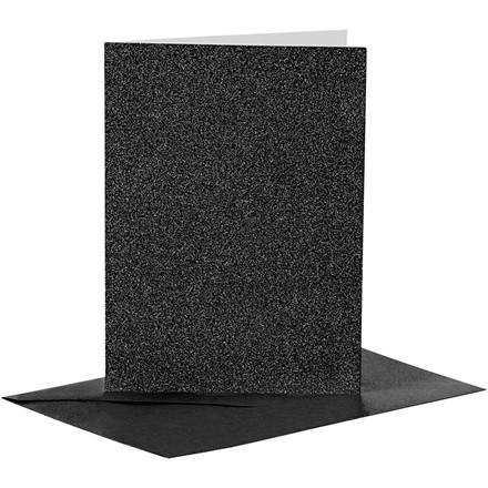 Farvede kuverter og kort i sort glitter kort str. 10,5 x 15 cm - 4 sæt