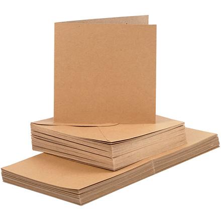 Kort og kuverter kort 15 x 15 cm kuvert 16 x 16 cm natur   50 sæt