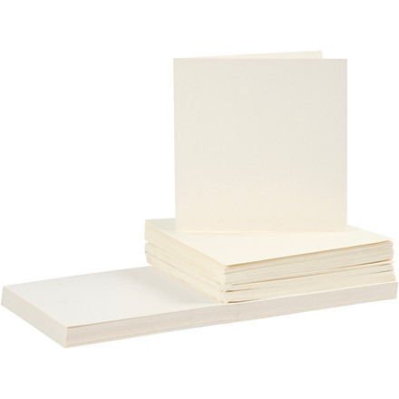 Kort og kuverter, kort str. 15x15 cm, kuvert str. 16x16 cm, råhvid, 50sæt