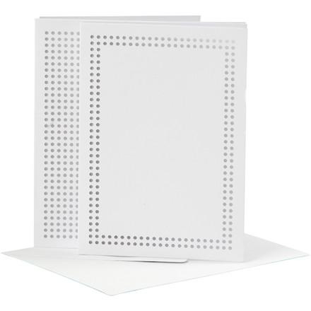 Kort til broderi kort størrelse 10,5 x 15 cm kuvert størrelse 11,5 x 16 cm hvid   6 stk.