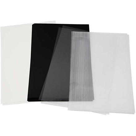 Krympeplast, ark 20x30 cm, 4ass. ark