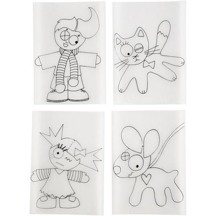 Krympeplast med motiver, ark 10,5x14,5 cm, mat transparent, børn og dyr, 4ass. ark
