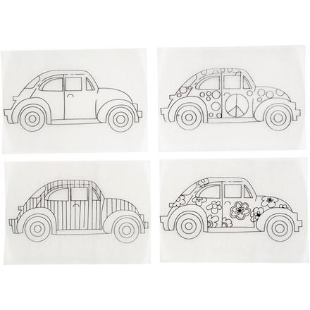 Krympeplast med motiver, ark 10,5x14,5 cm, mat transparent, biler, 4ass. ark