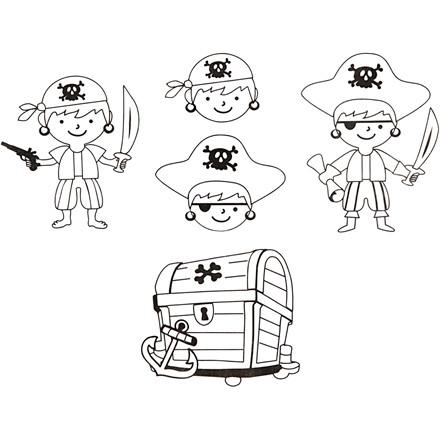 Krympeplast med motiver, ark 10,5x14,5 cm, pirater, 4ark