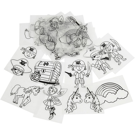 Krympeplast med motiver, ark 10,5x14,5 cm, pirater og enhjørning, 36ark