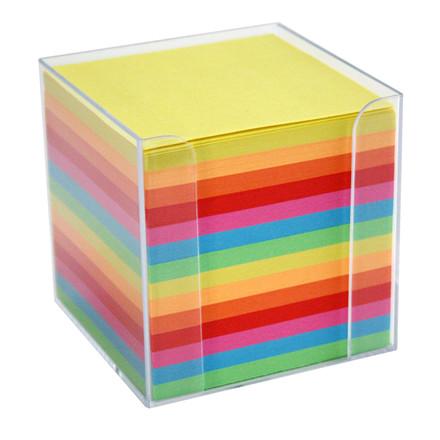 Kubusdispenser i klar plast -  Med 700 ark i regnbue farver 9,5 x 9,5 x 9,5 cm