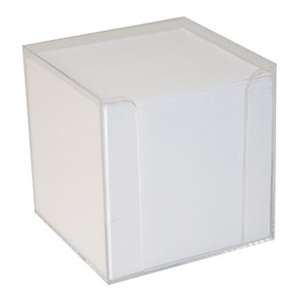 Kubusdispenser - Klar plast med 700 hvide ark uden klæb