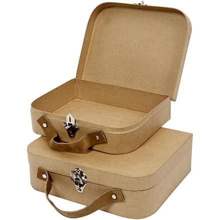 Mini kuffert i papmaché i 2 størrelser - 2 stk.