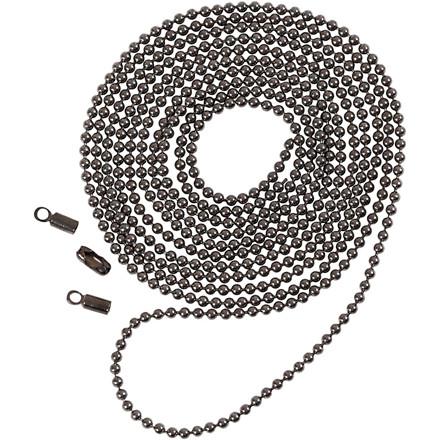 Kuglekæde, dia. 1,5 mm, mørk grå metallic, 1m