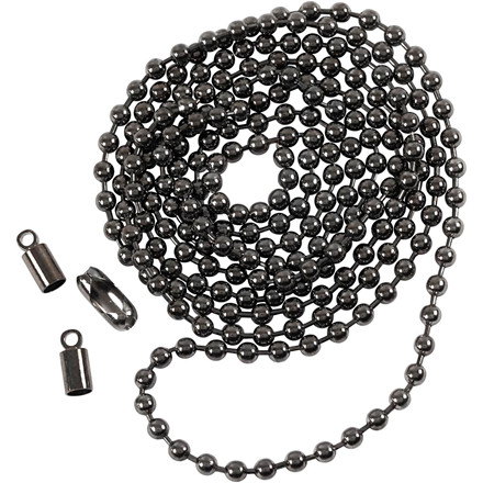 Kuglekæde, dia. 3 mm, mørk grå metallic, 1m