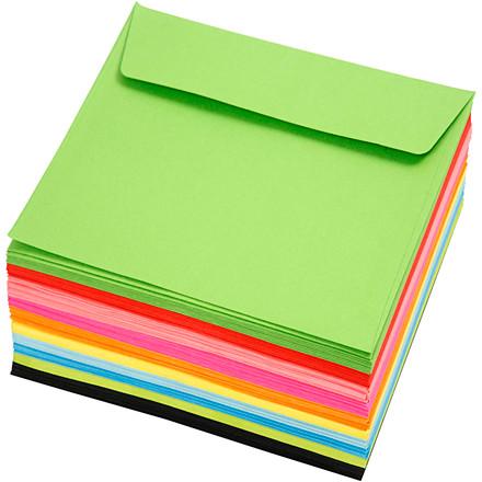 Kulørte kuverter, str. 16x16 cm, 80 g, ass. farver, 50 stk.